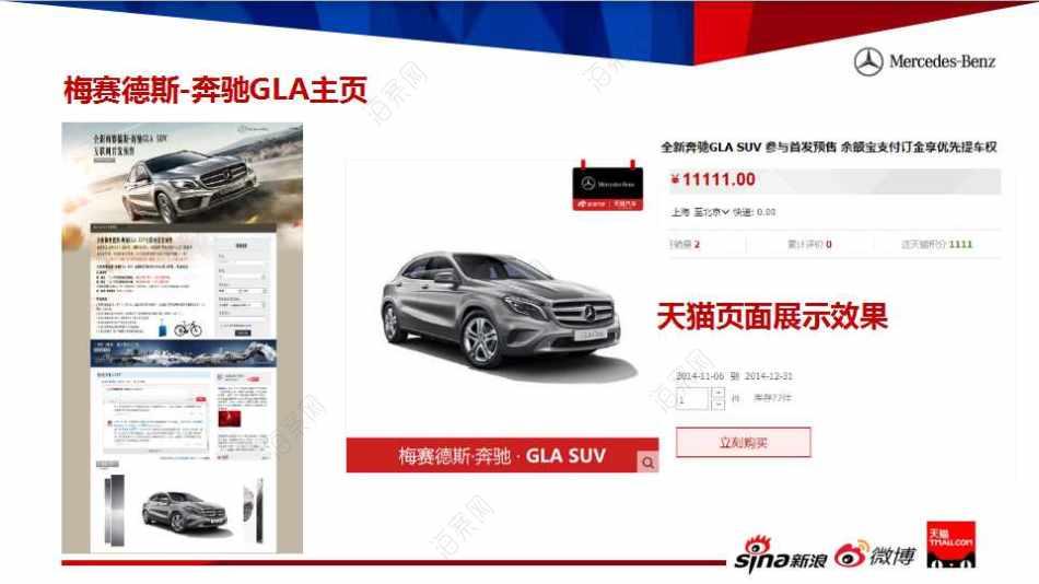 汽车品牌-奔驰GLA联合新浪天猫打造电商购车产品推广方案