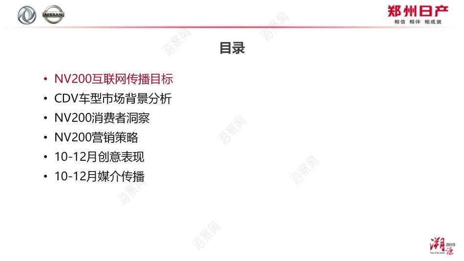 汽车品牌郑州日产NV200启望版10-12月网络传播推广方案