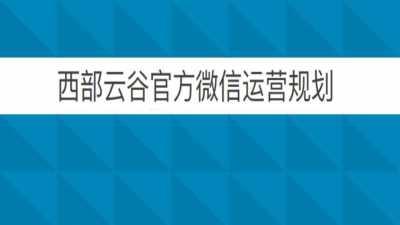 科技公司西部云谷微信运营自媒体策划方案