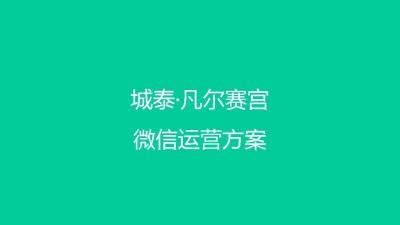 房地产品牌南昌城泰·凡尔赛宫微信运营策划方案