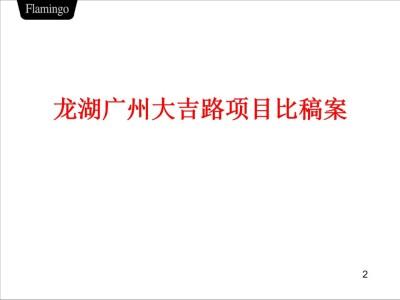 房地产行业龙湖广州大吉路项目比稿策划方案
