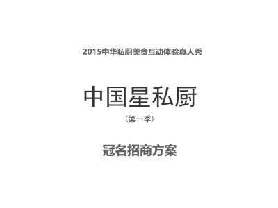 真人秀节目中华私厨美食互动体验真人秀 中国星私厨 (第一季) 冠名招商方案