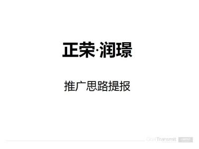 房地产品牌正荣润璟项目推广思路提报策划方案