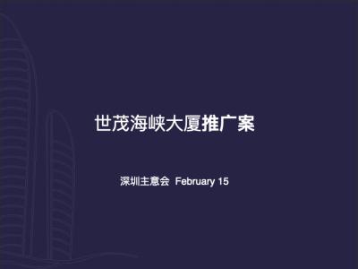房地产品牌深圳主意会-世茂海峡大厦推广策划方案