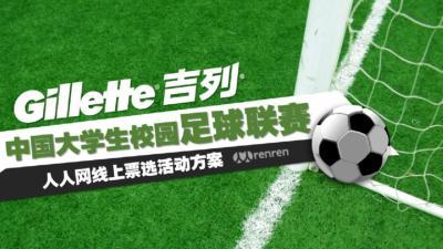 剃须刀品牌吉列-中国大学生校园足球联赛人人网网络票选合作策划方案【48P】